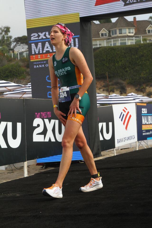 Girl at the Malibu Tri finish line