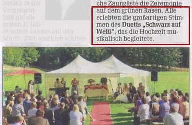 Schwarz auf Weiss singt bei einer Hochzeit in Blasbach, freier Redner: Torsten Grotum