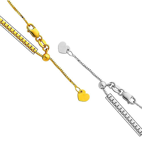 14k Yellow or White Gold 0.9-mm Box Chain Necklace