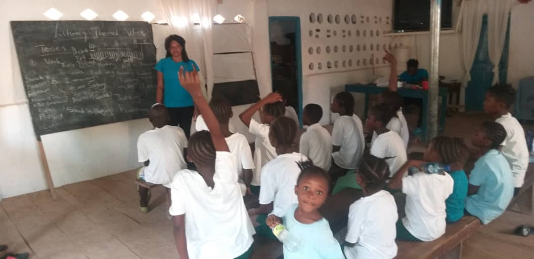 Literacy classes at Girls in Sport compound in Sierra Leone's Northern Province
