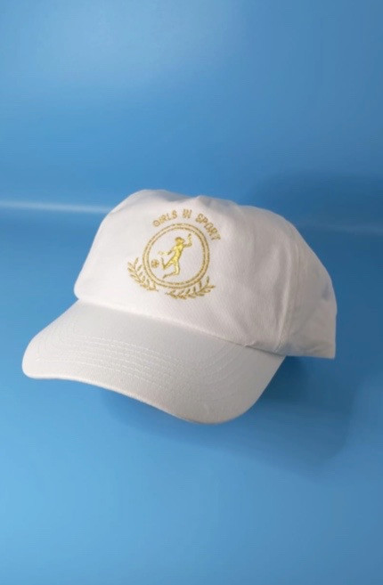 White baseball cap with gold embroidered logo