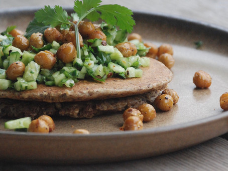 Cumin & Coriander Pancakes with Roasted Chickpeas & Cucumber Salsa