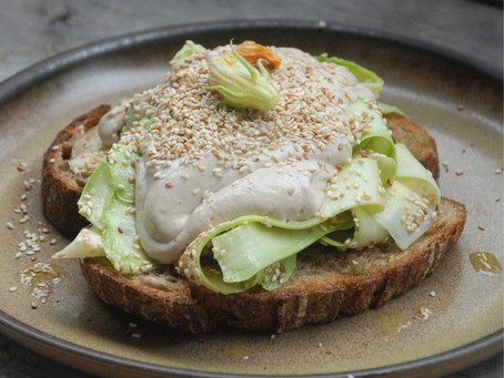 Tahini Fuwa Fuwa & Shaved Courgette Open Sandwich
