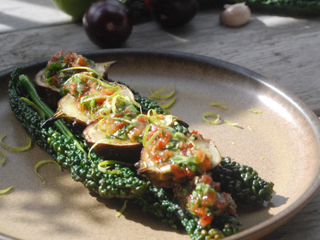 Indian Aubergine & Salsa on Cavolo Nero