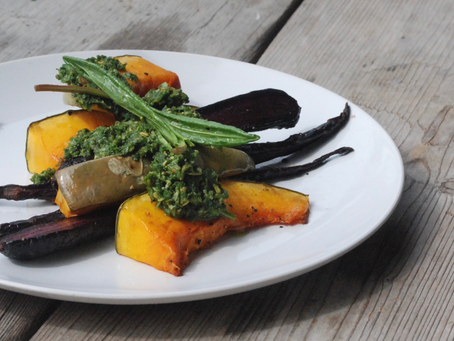 Roast Pumpkin & Purple Carrot with Sorrel Pumpkinseed Pesto