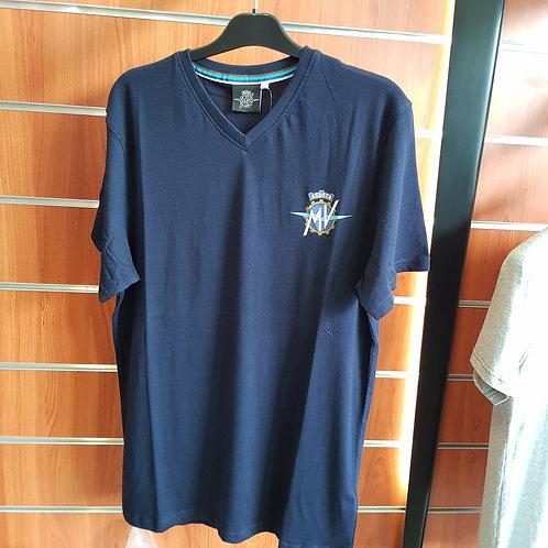 T-shirt bleu col V avec logo - MV Agusta