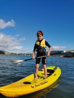 Standing on the kayak