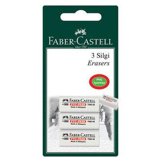 Faber Castell Plastik Silgi Beyaz Renk 3'Lü ( 7086/48 )
