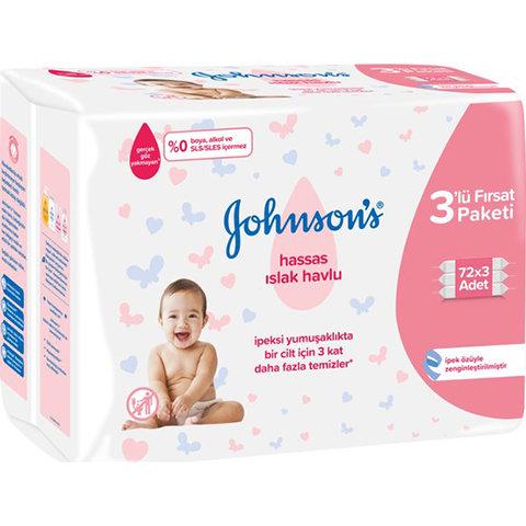 Johnsons Bebek Islak Mendil Hassas 3 x 72'li