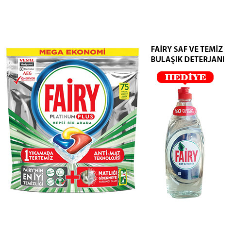 Fairy Platinum Plus 75li Bulaşık Makinası Deterjanı + Fairy 650ml Saf Ve Temiz