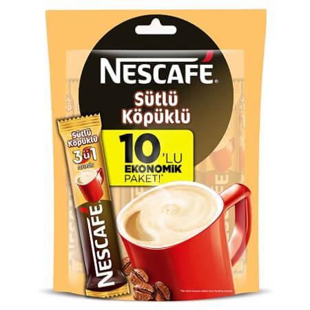 Nescafe Sütlü Köpüklü 3+1 Arada 10 lu Eko Paket 17.4 Gr