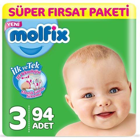 Molfix Bebek Bezi 3 Beden Midi Süper Fırsat 94lü
