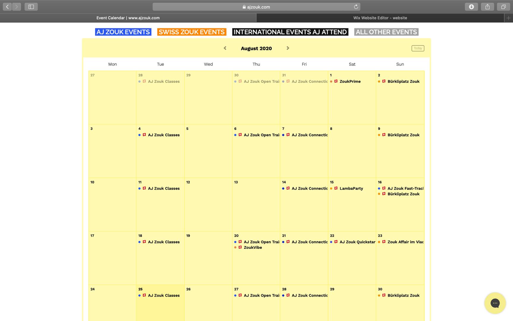View Events Calendar