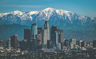 Picture of Los Angeles with snow cap mountains in background during winter