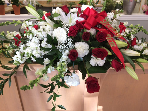 White and Red Casket Spray