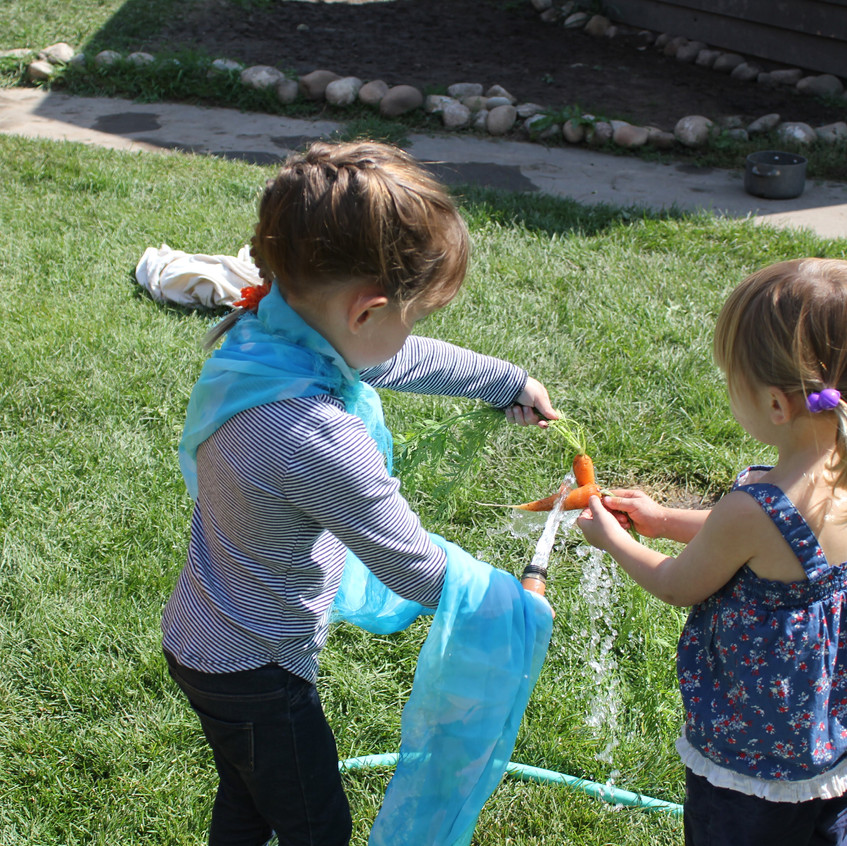 Helping each other wash carrots