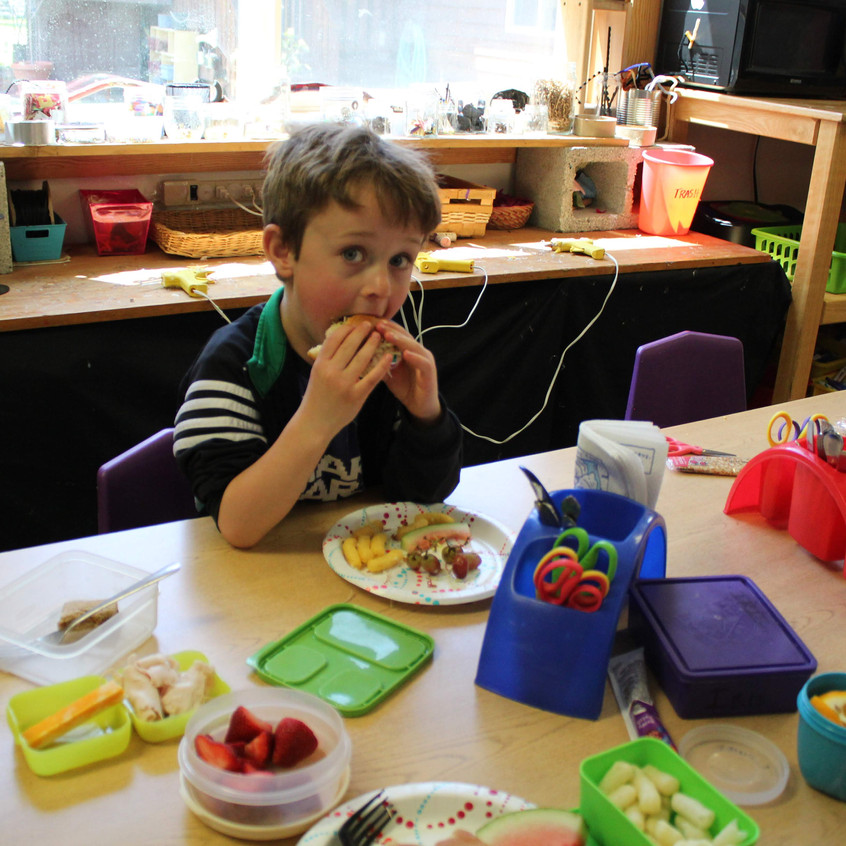 N enjoying his lunch!