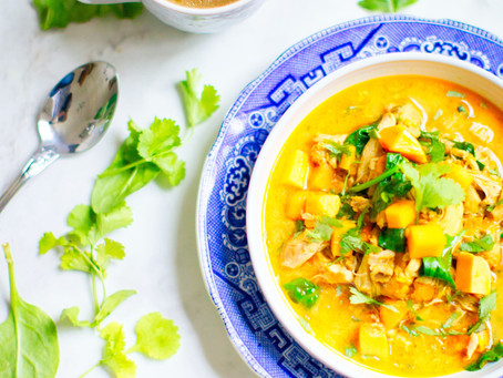 Curry Chicken with Greens and Coconut Milk