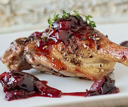 Pan Roasted Duck Legs with Black Cherry Sauce