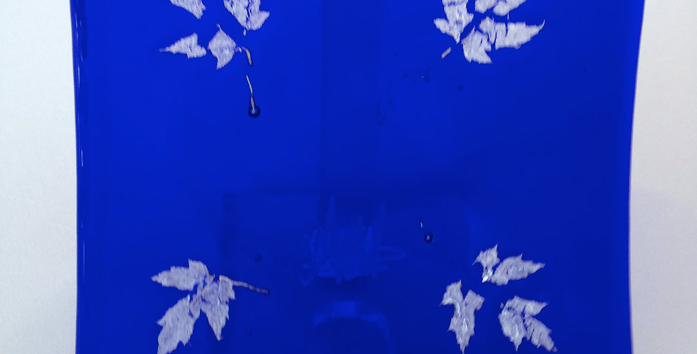 Cobalt Blue Plate with Maple Leaves