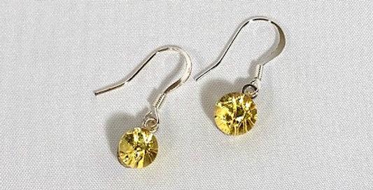 Yellow Crystal Pierced Earrings