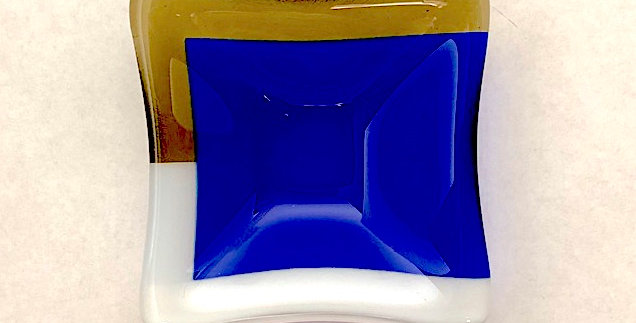 Cobalt Blue, White Opal and Antique Bronze Glass Mini Bowls