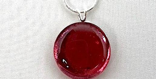 Gold Ruby Crystal Circle Pendant