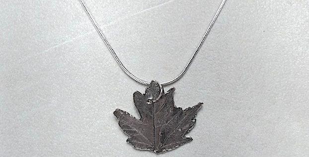 Small Maple Silver Pendant