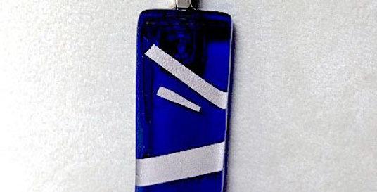 Cobalt Blue Pendant with Silver Stripes