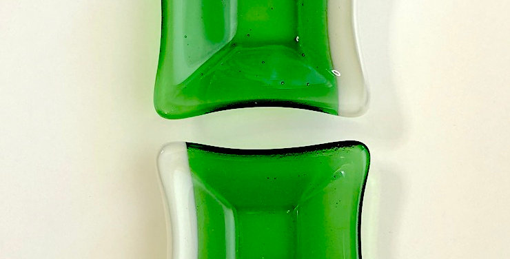Pair of Kelly Green with White Opal Glass Mini Bowls