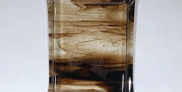 Chocolate Brown and Clear Glass with White Glass Wall Vase