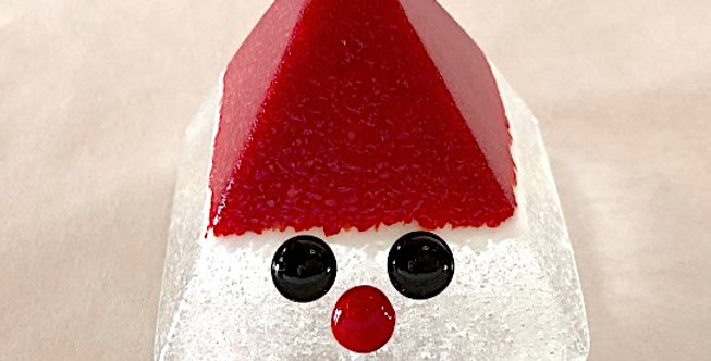 Red and white glass Tomte
