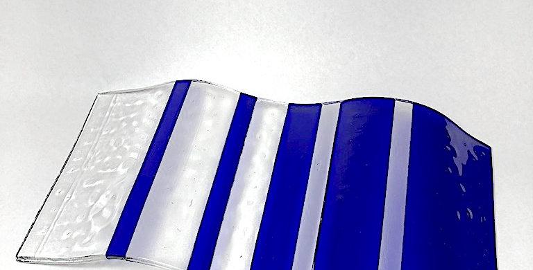 Blue & Clear Wavy Glass Art