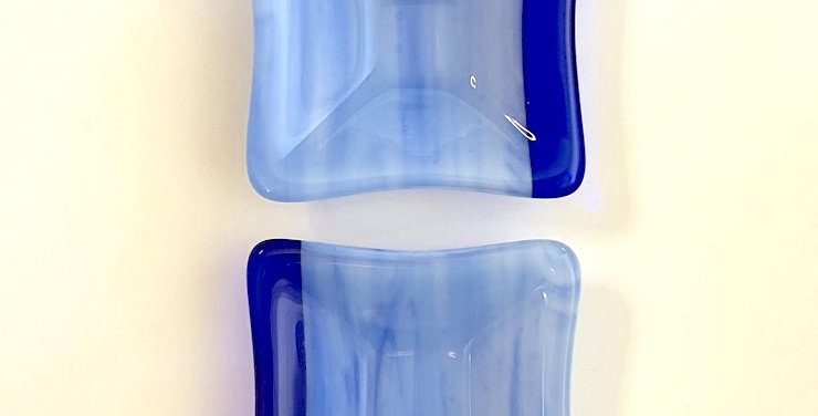 Pair of Blue Prisma with Cobalt Blue Glass Mini Bowls