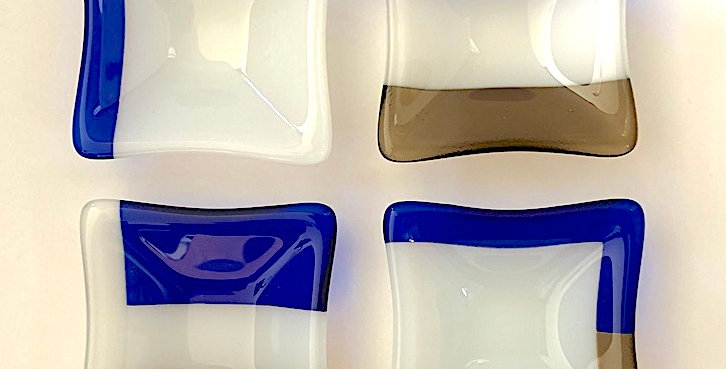 Set of Four Cobalt Blue, White Opal and Antique Bronze Glass Mini Bowls