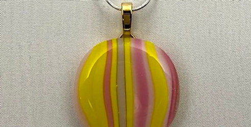 Pink, Gray and Yellow Striped Glass Pendant