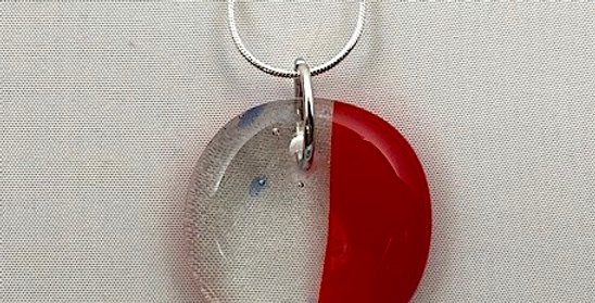 Red and Clear With Blue Speckled Glass Pendant