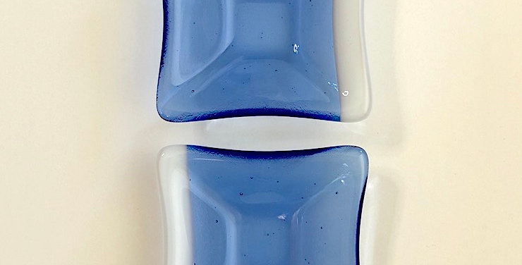 Pair of Pale Blue with White Opal Glass Mini Bowls