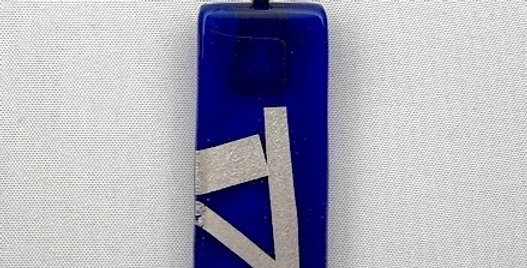 Cobalt Blue Glass Pendant with Silver Stripes