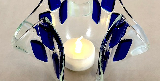 Blue and Green Design Glass Votive
