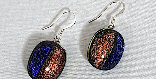 Purple and Copper Dichroic Glass Pierced Earrings