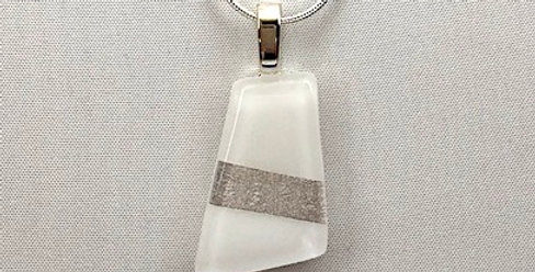 White Glass Pendant With Silver Stripe