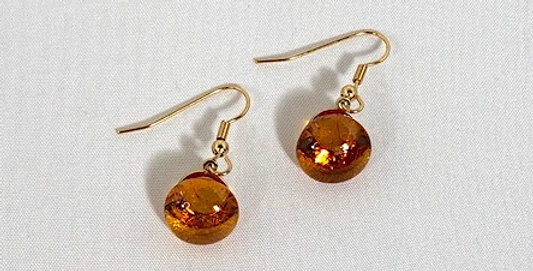 Yellow Amber Crystal Pierced Earrings