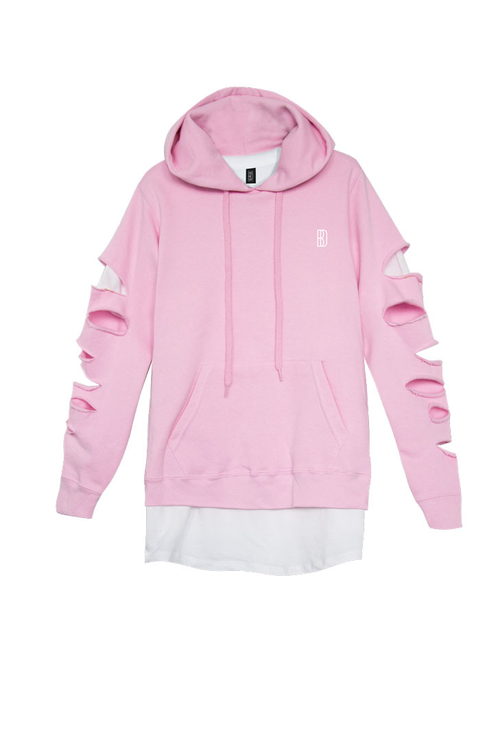 Double Layered Pink Hoodie With T Shirt Blackdope