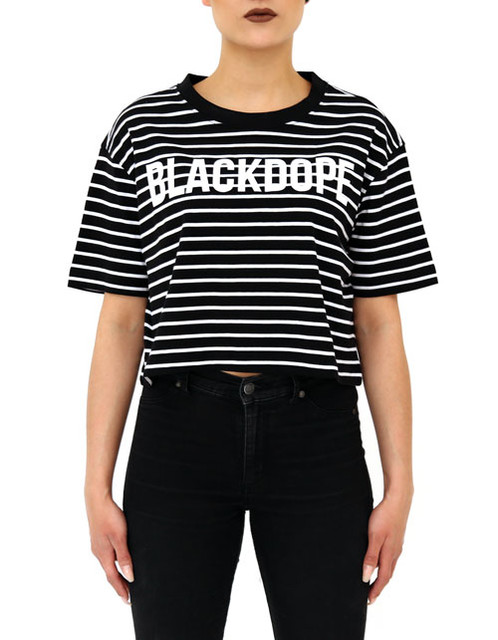 T shirt crop black stripes blackdope white blackdope for T shirt printing and distribution