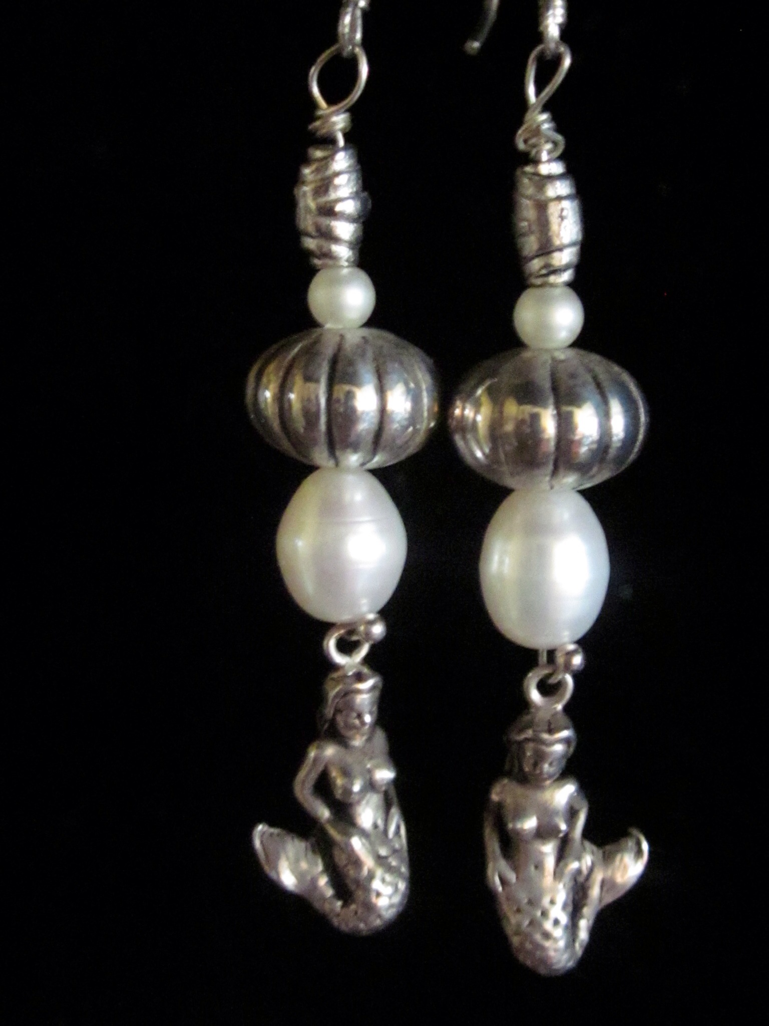 Cast Pewter Mermaid & Bead Earrings W/large Cultured Pearls