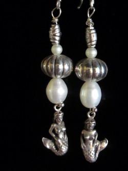 Cast Pewter Mermaid & Bead Earrings W/large Cultured Pearls