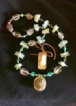 White jade carved Zodiac necklace w_ sil