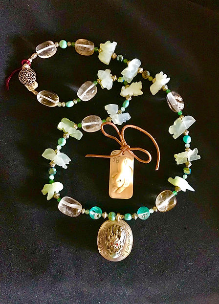 White jade carved Zodiac necklace w_ sil