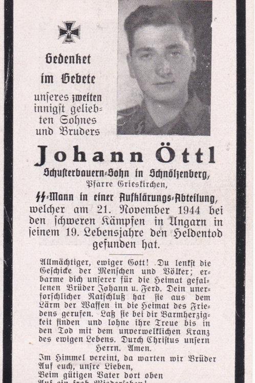 sterbebild-death card SS Aufklärer KIA Ungary 1944